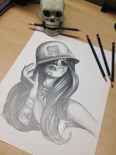 Military; Sugar skull girl mash-up tattoo flash/idea.