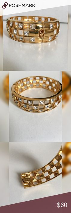 "🚨PRICE DROP🚨SWAROVSKI gold bracelet SWAROVSKI gold crystal bracelet with closure; 2.25"" diameter Swarovski Jewelry Bracelets"