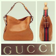 Gucci $1,460 'Heritage' tan/orange large pebbled leather hobo/bag w/green & red webbing @resaleriches price: $790 www.resalerichesnyc.com
