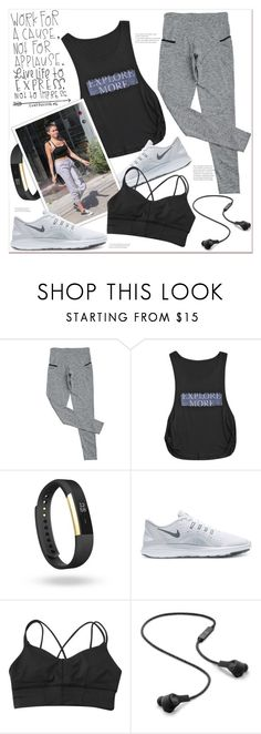 """""""work for a cause not for applause.."""" by mycherryblossom ❤ liked on Polyvore featuring Fitbit, NIKE and B&O Play"""