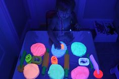 Glow in the dark playdough - must use black light!  1 c flour, 1/2 c salt, 1 T cooking oil, 1 T cream of tarter, 1 C water  mix dry, add wet, med heat, stirring, forms a ball, pulls from side of pan, will be warm, knead few minutes  Add fluorescent paint  OR add in kool-aid, glitter, spices, smells  I divided ball up and added food coloring, making two colors with one batch
