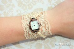 Champagne Lace Watch, By Heart ALways Jewelry, $26.99 Lots of other colors too. Such beautiful watches!