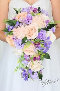 Lavender and Peach cascading wedding flower brides bouquet Peach Lavender Wedding, Peach Wedding Colors, Blush Wedding Theme, Wedding Favours Luxury, Boquette Wedding, Dream Wedding, Cascading Wedding Bouquets, Bride Bouquets, Bridal Flowers