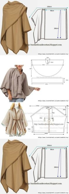 great cape and poncho pattern diagrams
