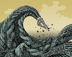 "lapetitebaobab: "" montejon:thinkdrastic:timoni: "" "" "" yuko shimizu fine art & personal work Certainly one of the more original plays on Hokusai's Great Wave off Kanagawa. Hokusai Great Wave, Yuko Shimizu, Wave Illustration, American Illustration, Ink Illustrations, Story Drawing, Great Wave Off Kanagawa, School Of Visual Arts, Knitting Humor"