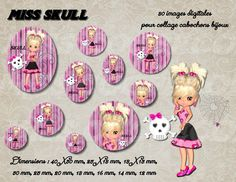 "80 images collage digital pour cabochons ""miss skull"" : Loisirs créatifs, scrapbooking par miss-coopecoll"
