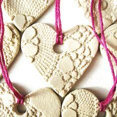 Sweetheart Christmas decorations in cream stoneware ceramic