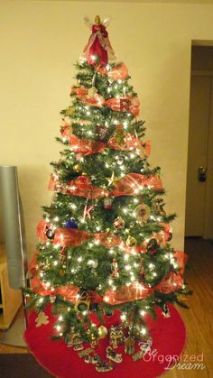 The Organized Dream: How To Decorate a Christmas Tree With Wide Mesh Ribbon