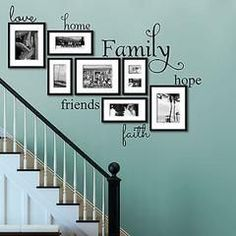Home Family Hope Friends Faith Vinyl Wall Decal Sticker Measures Love Wide by High Home Wide.Love Home Family Hope Friends Faith Vinyl Wall Decal Sticker Measures Love Wide by High Home Wide. Stairway Walls, Decoration Entree, Family Tree Wall, Love Home, Home And Deco, Wall Collage, Wall Art, Family Collage, Diy Wall