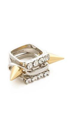 Joomi Lim Baroque Punk Spike & Crystal Ring Set