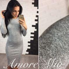 Платье облегающее теплое закрытое офисный стиль средней длины серый