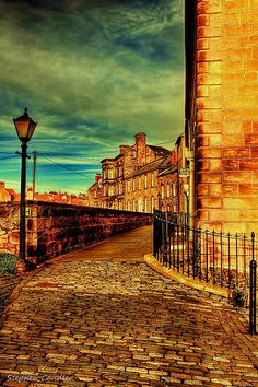 Along a cobbled street on the old walls of Berwick Upon Tweed, Northumberland, England
