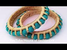 How To Make Thread Bangles//Thread beaded thread Bangles At Home. Silk Thread Earrings Designs, Silk Thread Bangles Design, Silk Bangles, Beaded Jewelry Designs, Thread Jewellery, Fabric Jewelry, Silver Bracelets, Beaded Bracelets, Diy Jewellery