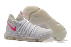 best service 5a834 9bc38 2017 Cheap Nike KD 10 White Pink Glow in the Dark Men s Basketball Shoes