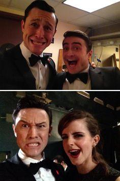 Joseph Gordon Levitt with Daniel Radcliffe and Emma Watson