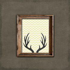 Deer Antlers, Printable Art Print, Instant Download, Woodland Nursery, Children's Room, Rustic Home Decor, Cream Chevron, Chalkboard Art on Etsy, $5.00
