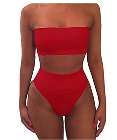 ATTRACO Honey Boutique Women Sexy Plain Bandeau Top High Waist Bottom Bikini Set