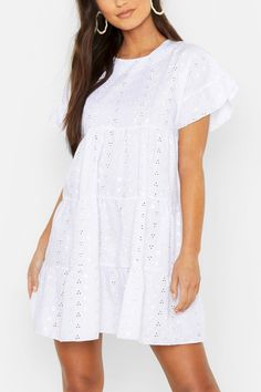 Petite Broderie Anglaise Smock Dress | Boohoo UK
