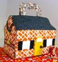 """free pattern and video tutorial to make this cute """"traveling"""" doll house - adorable!"""