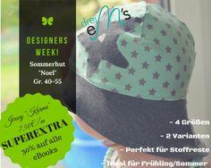 Designersweek - eBook - Damen - Kinder - Mütze - Sommerhut - Hut - Drei eMs - Jersey - Sterne - Karma - Stoffe günstig - Angebot - Glückpunkt.
