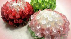 Цветы канзаши из узкой ленты 1,2 см, МК