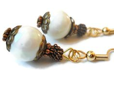 White Earrings Rustic White Earrings Bronze by chicagolandia, $16.00