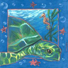 SEA TURTLE Giclee 5 x 7 Art Print on W//C Paper Signed by Artist DJR