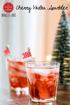 Cherry Vodka Sparkler: 1 can ounces) Simply Balanced Sparkling Cranberry Cherry 2 ounces cherry vodka Rock candy swizzle sticks Party Drinks, Cocktail Drinks, Cocktail Recipes, Alcoholic Drinks, Cherry Vodka Drinks, Christmas Cocktails, Holiday Cocktails, Tequila, Cheers