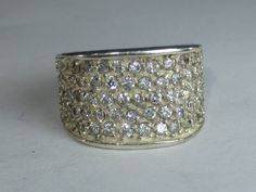 Vintage Sterling Silver White Gemstone Pave' Ring Size 6.25 by HipTrends2015 on Etsy