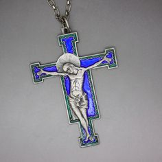 Catholic Medals, Catholic Jewelry, Spiritual Gifts, Crucifix, Modernism, Makers Mark, Cross Pendant, Sterling Silver Chains, Green Colors