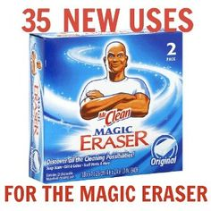 35 new uses for the Magic Eraser: remove paint scratches on your car from minor fender benders, remove adhesive residue after removing stickers, remove rust from most surfaces, remove nail polish spills or stains, remove grass stains from shoes after moving the lawn......