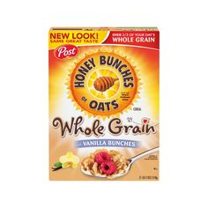 Honey Bunches Of Oats Whole Grain With Vanilla Bunches Cereal Honey Oats Cereal, Oat Cereal, Breakfast Cereal, Honey Crunch, Cinnamon Toast Crunch, Marshmallow Cereal, Whole Grain Cereals, Buy Honey, Natural Honey