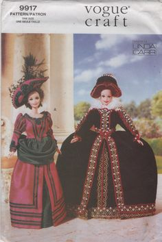 Vogue 9917 652 Linda Carr Barbie Doll Clothes Pattern Fashion Doll Historical Outfits 11 Inch Doll Clothes Sewing Pattern UNCUT Vogue 9917 652 Linda Carr Barbie Doll Clothes Pattern Fashion Doll Historical Outfits 11 Inch Do Barbie Sewing Patterns, Hat Patterns To Sew, Doll Clothes Patterns, Clothing Patterns, Doll Patterns, Vogue Patterns, Doll Costume, Costumes, Girl Doll Clothes
