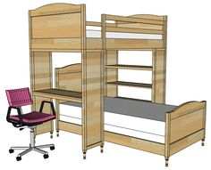 Bunk Bed System Desk or Bookshelf Supports | Free and Easy DIY Project and Furniture Plans