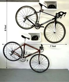 Bike wall mount and cycling storage solutions. Modern and fun bicycle racks that look awesome with or without bike. Space saving pedal hooks for multiple bikes. Hanging Bike Rack, Bicycle Hanger, Indoor Bike Rack, Bike Hooks, Bike Shelf, Bike Hanger Wall, Garage Velo, Bike Storage Solutions, Storage Ideas