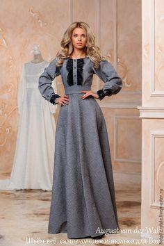 Платье в Русском стиле, женственное платье в макси длине. Эксклюзивное платье, платье в Санкт-Петербурге, в наличии и индивидуальный пошив. Платье от August van der Walz. Купить, примерить, сшить !