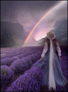 Beautiful Colors Of The Rainbow point me to where you will wait for me on the bridge. until then know that my love for you is unending Lavender Cottage, Lavender Blue, Lavender Fields, Lavender Flowers, Purple Flowers, All Things Purple, Over The Rainbow, Shades Of Purple, Provence