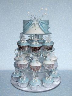 Stunning winter wedding cupcake tier.