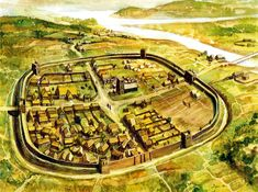 Typical Anglo-Saxon Burh, a type of fortification that developed to protect towns from other Germanic invaders such as vikings. Anglo Saxon History, British History, Ancient History, European History, Ancient Aliens, American History, Art History, Vikings, Anglo Saxão