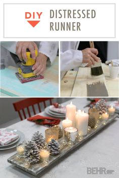 Decorate your home for the holidays with this DIY distressed table runner. This rustic tabletop centerpiece is the perfect way to celebrate the beauty of winter as you gather with friends and family around the dinner table. Use painted wood, candles, and glittery pinecones to complete this easy homemade craft. This elegant table decoration uses a combination of Kindling and Ultra Pure White to create a subtle, weathered look.