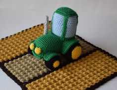 Crochet Green Tractor Lovey/Security Blanket Crochet Green Tractor Amigurumi Toy Crochet Country Farm Blanket Harvest Fields ************************************************************************************  Check out this cute little green tractor working hard in the field. It would be the perfect little buddy for your child. Made in a smoke free environment. I can do custom orders on this, in which you can pick the colors and size of blanket. If you are interested, send me a request and…