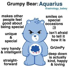 It's so funny because this is also my favorite Care Bear 🤣🤣🤣 Astrology Aquarius, Aquarius Traits, Aquarius Love, Aquarius Quotes, Zodiac Sign Traits, Aquarius Woman, Zodiac Signs Astrology, Age Of Aquarius, Zodiac Signs Horoscope