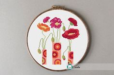 Flowers cross stitch pattern modern cross stitch DIY