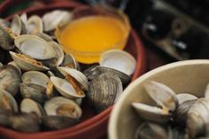 """Soft shell, or """"steamer"""" clams are a favorite New England treat. Unfortunately, they're hard to find, and have to be collected in season. That means that steamer clams are off the menu for the rest of the year, unless you can preserve them. How To Cook Clams, How To Clean Clams, Seafood Dishes, Fish And Seafood, Seafood Meals, Seafood Boil, Fresh Seafood, Fish Dishes, Clam Recipes"""