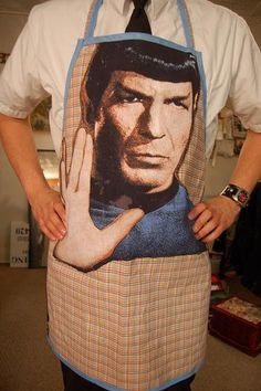 Star Trek Spock apron made by Nix Sidhe. A logical cooks accessory of choice.