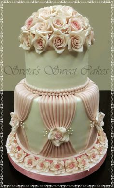 Wedding Roses Wedding Rose Cake by Sassyscribe Beautiful Wedding Cakes, Gorgeous Cakes, Pretty Cakes, Amazing Cakes, Fondant Wedding Cakes, Fondant Cakes, Cupcake Cakes, Elegant Cakes, Unique Cakes