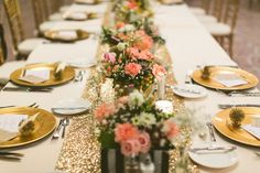 Glitter table runner / A Modern Ethereal Glitter & Blush Wedding
