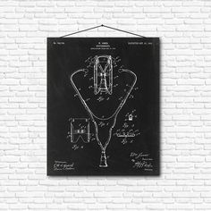 Stethoscope Patent Print- 1903 - Poster Wall art Illustration Print Art Home…