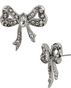 STONE PEARL BOW STUD CRYSTAL accessories jewelry earrings fashion