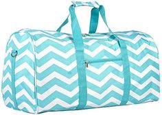 World Traveler Teal Chevron Gym Duffle Bag 21-inch * To view further for this item, visit the image link.
